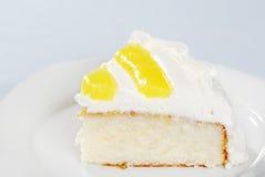 Closeup slice of lemon vanilla cake Royalty Free Stock Image