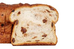 Closeup slice of raisin bread Royalty Free Stock Photo