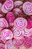 Chioggia beets. Closeup of sliced Chioggia beets Royalty Free Stock Photos
