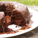 Closeup sliced chocolate cake with chocolate sauce on white plat Stock Images