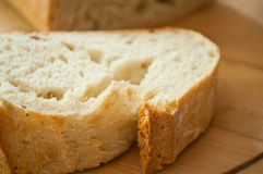 Closeup of sliced country bread Stock Photography