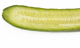 Sliced cucumber. Closeup of sliced cucumber on white background Stock Image