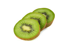 Closeup sliced kiwi fruit on white Stock Image