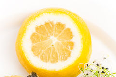 Closeup of sliced lemon for baked seabass. Royalty Free Stock Images