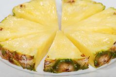 Closeup Sliced Pineapple Shallow Dof Stock Image