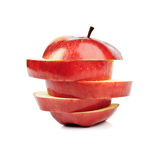 Closeup sliced red apple Stock Images