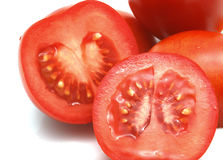 Closeup of sliced red tomatoes Stock Photography