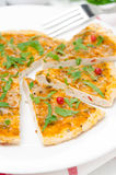 Closeup of slices of chicken pizza with tomato sauce, cheese Royalty Free Stock Photography