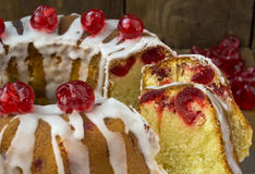 Closeup of slices of glazed cherry cake Stock Photography
