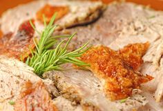 Closeup slices of italian porchetta Stock Photo