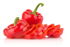 Free Closeup Slices Of Red Bell Peppers Isolated On White Stock Photography - 52743432