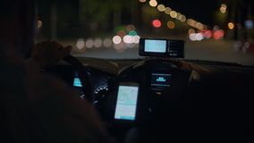 Taxi commuting at night stock footage