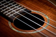 Closeup of a ukulele guitar with strings royalty free stock images