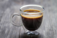 Closeup of small cup with espresso Stock Photo