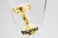 Closeup of small trophy in champagne flute. Gold colored award i Royalty Free Stock Images