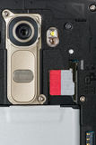 Closeup of Smartphone Camera Module and SD memory slot Stock Images