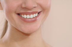 Closeup of smile with white healthy teeth Stock Photos