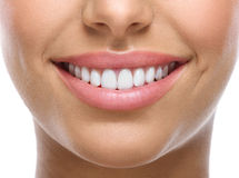 Closeup of smile with white teeth. Closeup of smile with white heatlhy teeth Royalty Free Stock Images