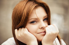 Closeup of smiling beautiful young girl Royalty Free Stock Photography