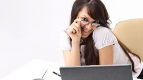 Closeup.smiling business woman sitting at a Desk. Photo with copy space Royalty Free Stock Photography