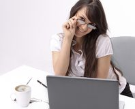 Closeup.smiling business woman sitting at a Desk. Photo with copy space Stock Photography