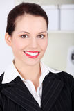 Closeup on smiling businesswoman`s face. Stock Photography