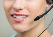 Closeup Of Smiling Customer Service Representative Royalty Free Stock Images