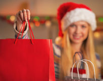 Closeup on smiling girl in santa hat showing shopping bag Royalty Free Stock Photography
