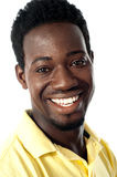 Closeup of smiling handsome african guy stock images