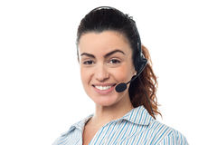 Closeup smiling portrait of a call centre executive Stock Image