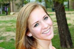 Closeup smiling teen girl Stock Photos