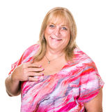 Closeup of Smiling Transgender Woman. Close up on happy transgender woman over white background Royalty Free Stock Image