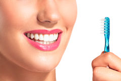 Closeup of smiling woman with perfect white teeth Royalty Free Stock Images