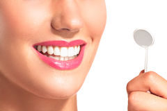 Closeup of smiling woman with perfect white teeth Stock Image