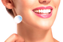 Closeup of smiling woman with perfect white teeth Stock Images