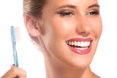 Closeup of smiling woman with perfect white teeth Royalty Free Stock Image