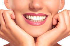 Closeup of smiling woman with perfect white teeth Stock Photos