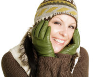Closeup of smiling woman in winter clothes Stock Photos