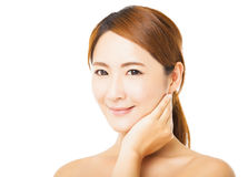 Closeup smiling young woman face Royalty Free Stock Photo
