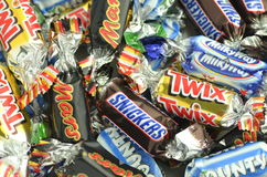 Closeup of Snickers, Mars, Bounty, Milky Way,Twix candies. royalty free stock images