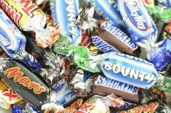 Closeup of Snickers, Mars, Bounty, Milky Way,Twix candies. Royalty Free Stock Image