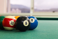 Closeup snooker billards ball on table with green surface. Closeup on snooker pool billards ball on table with green surface Royalty Free Stock Image