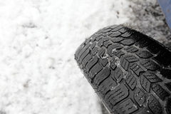 Closeup of snow tire Royalty Free Stock Images