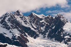 Closeup of snowy mountains Stock Photos