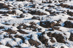 Closeup of a snowy plowed field Stock Photos