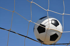 Closeup of Soccer Ball in Goal Royalty Free Stock Image