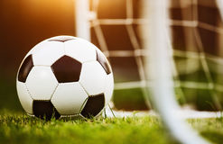 Closeup soccer ball on green grass Stock Photo