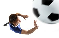 Soccer player goalkeeper in action. Closeup soccer player goalkeeper in action Royalty Free Stock Image