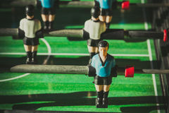 Closeup of soccer table football players Royalty Free Stock Image