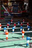 Closeup of soccer table football players in funfair carnival. A Closeup of soccer table football players in funfair carnival royalty free stock images